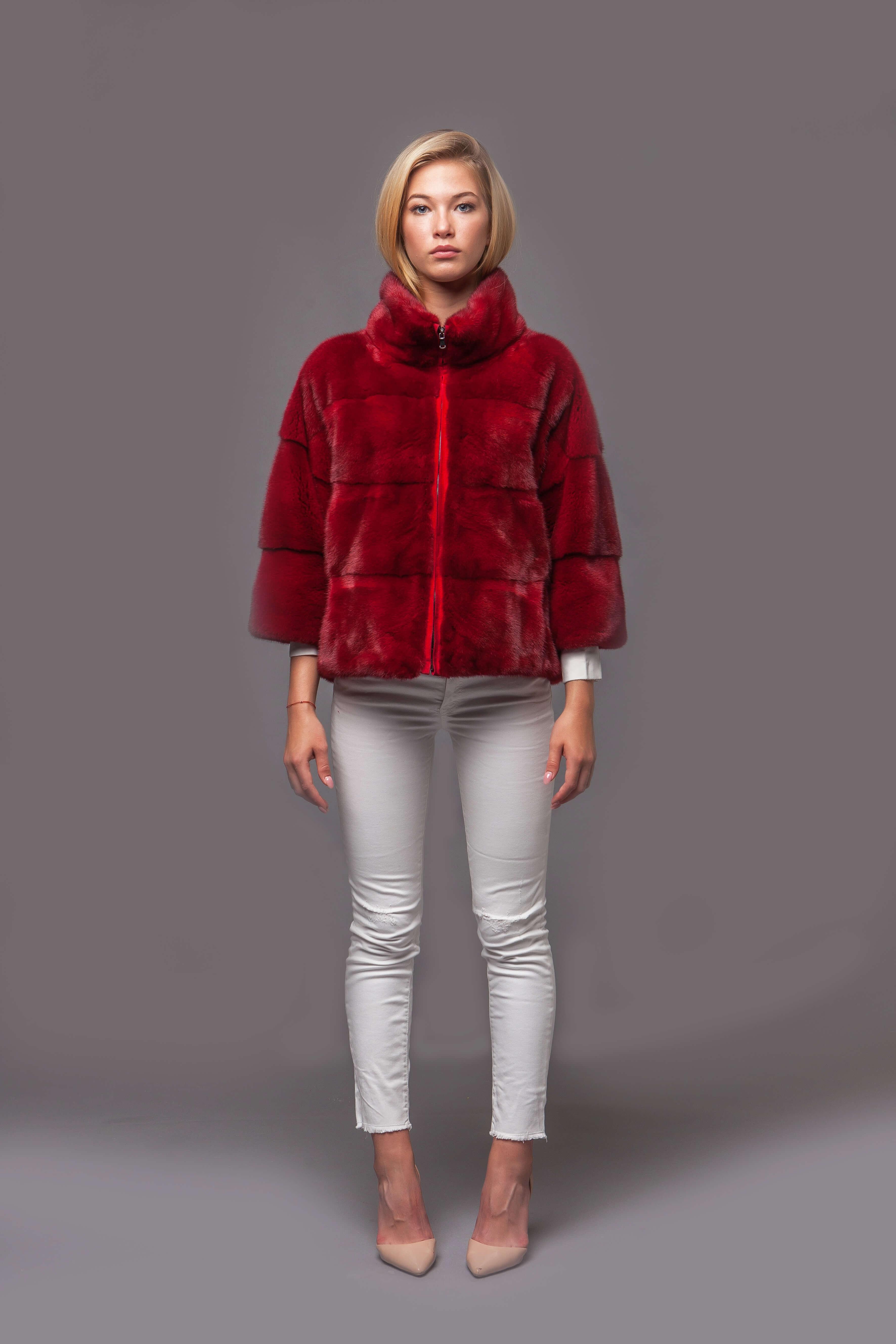 Красный норковый джемпер. Фото 1