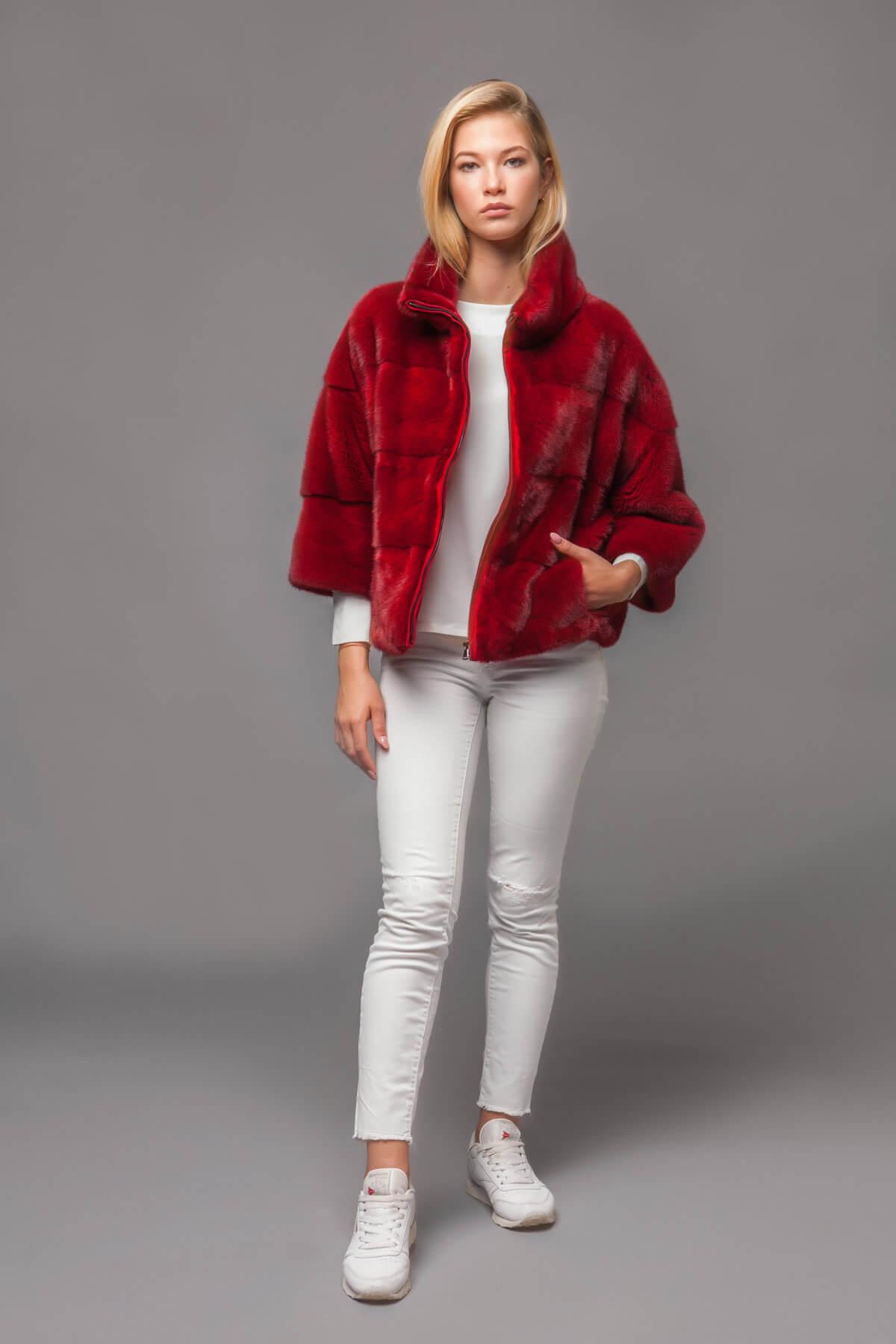 Красный норковый джемпер. Фото 4