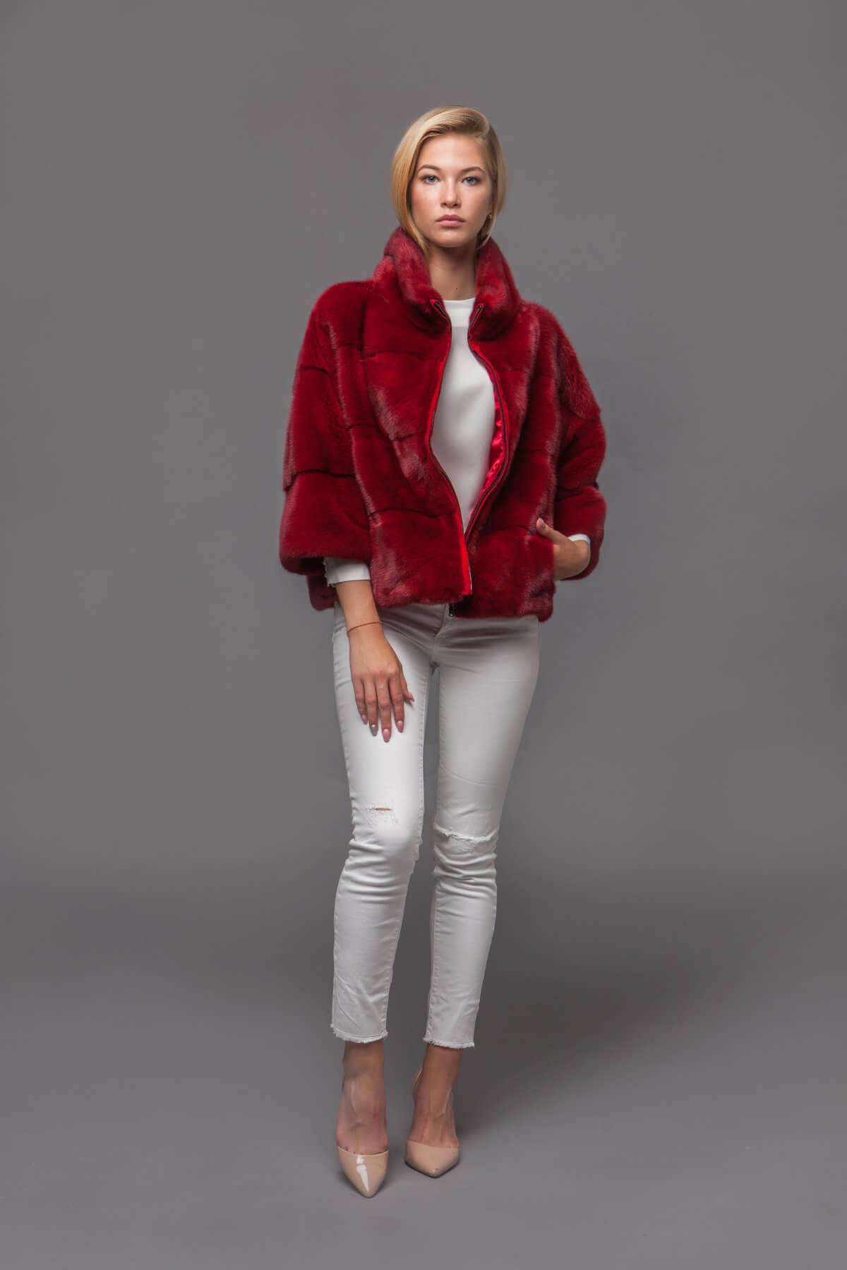 Красный норковый джемпер. Фото 5