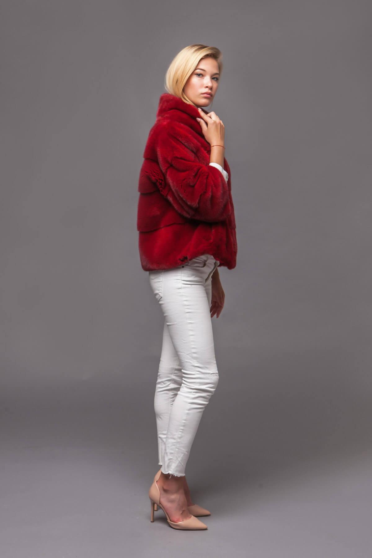 Красный норковый джемпер. Фото 7