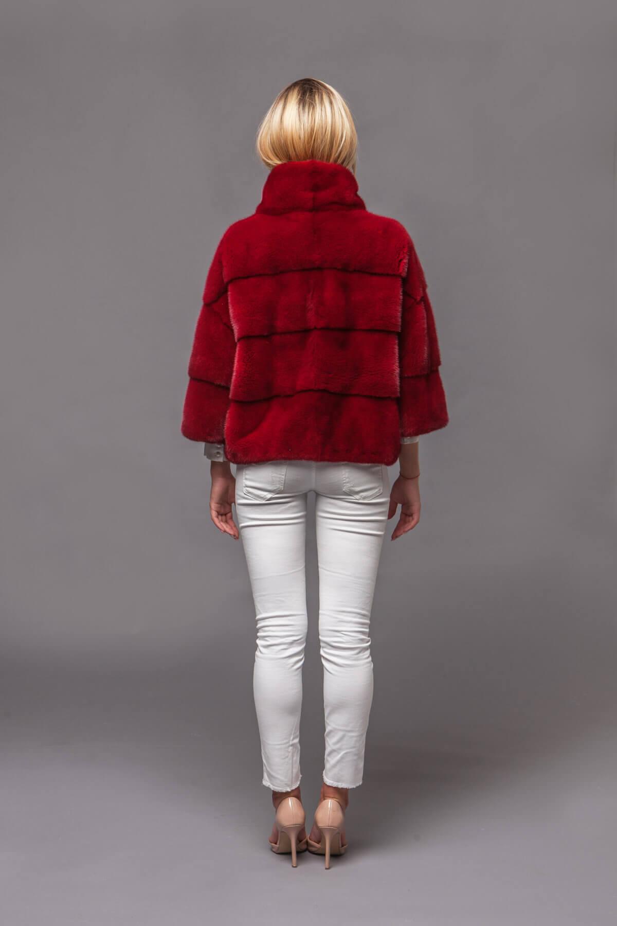Красный норковый джемпер. Фото 8