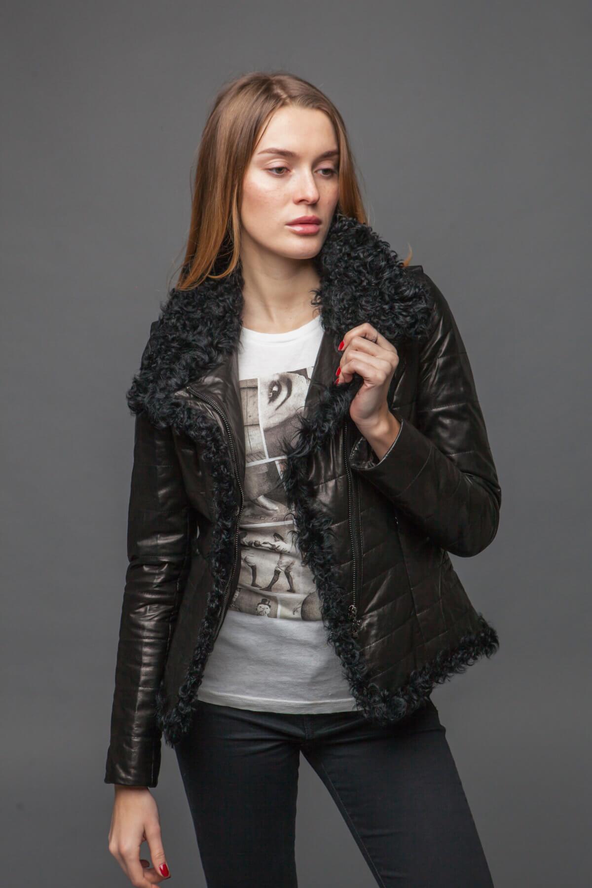 Кожаная куртка с барашком. Фото 2