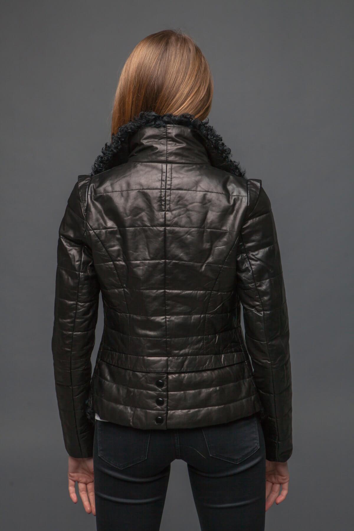 Кожаная куртка с барашком. Фото 4