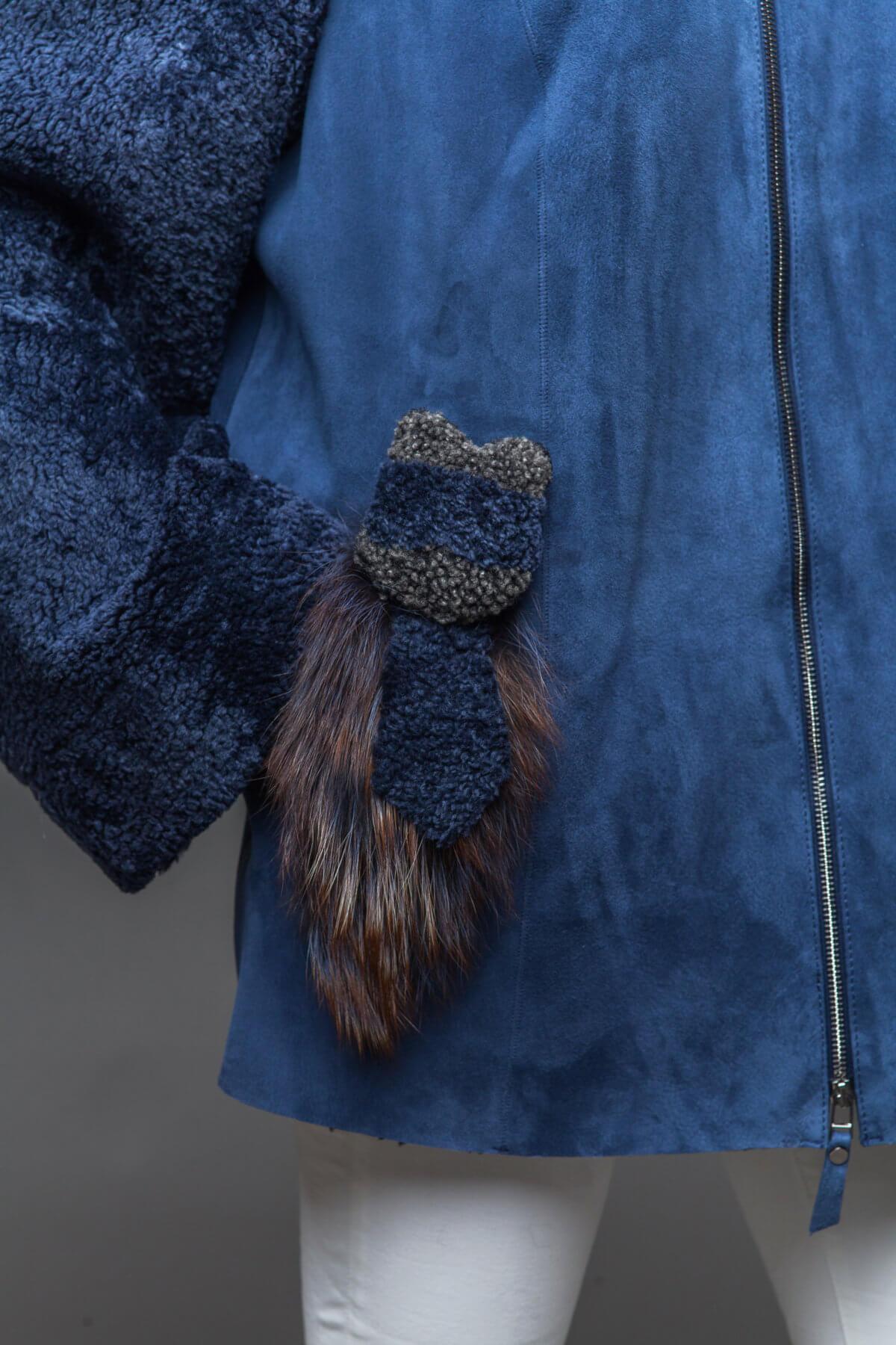 Кожаная дубленка с мехом чернобурки. Фото 3