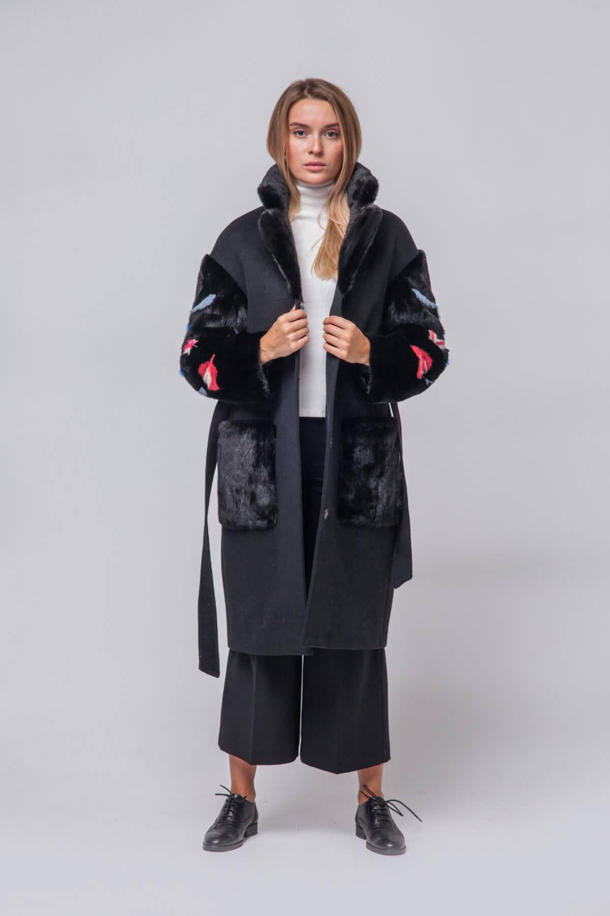 Комбинированное пальто с элементами норки. Фото 6