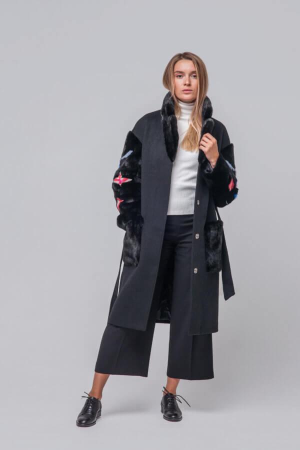 Комбинированное пальто с элементами норки. Фото 1