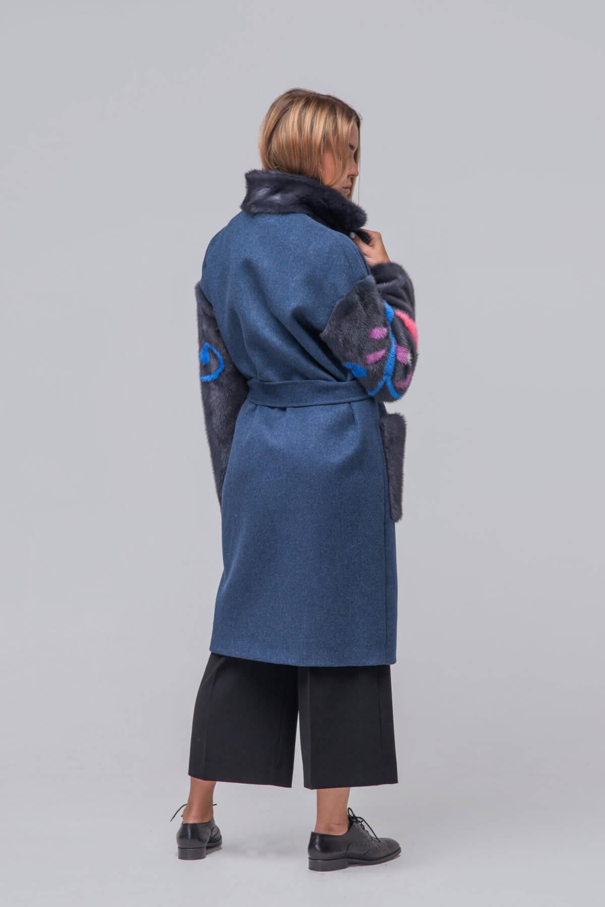 Комбинированное пальто с элементами норки. Фото 7