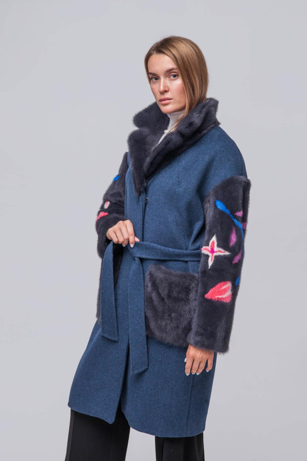 Комбинированное пальто с элементами норки. Фото 3