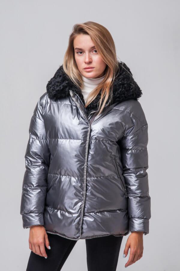 Утепленная куртка с мехом барашка. Фото 2