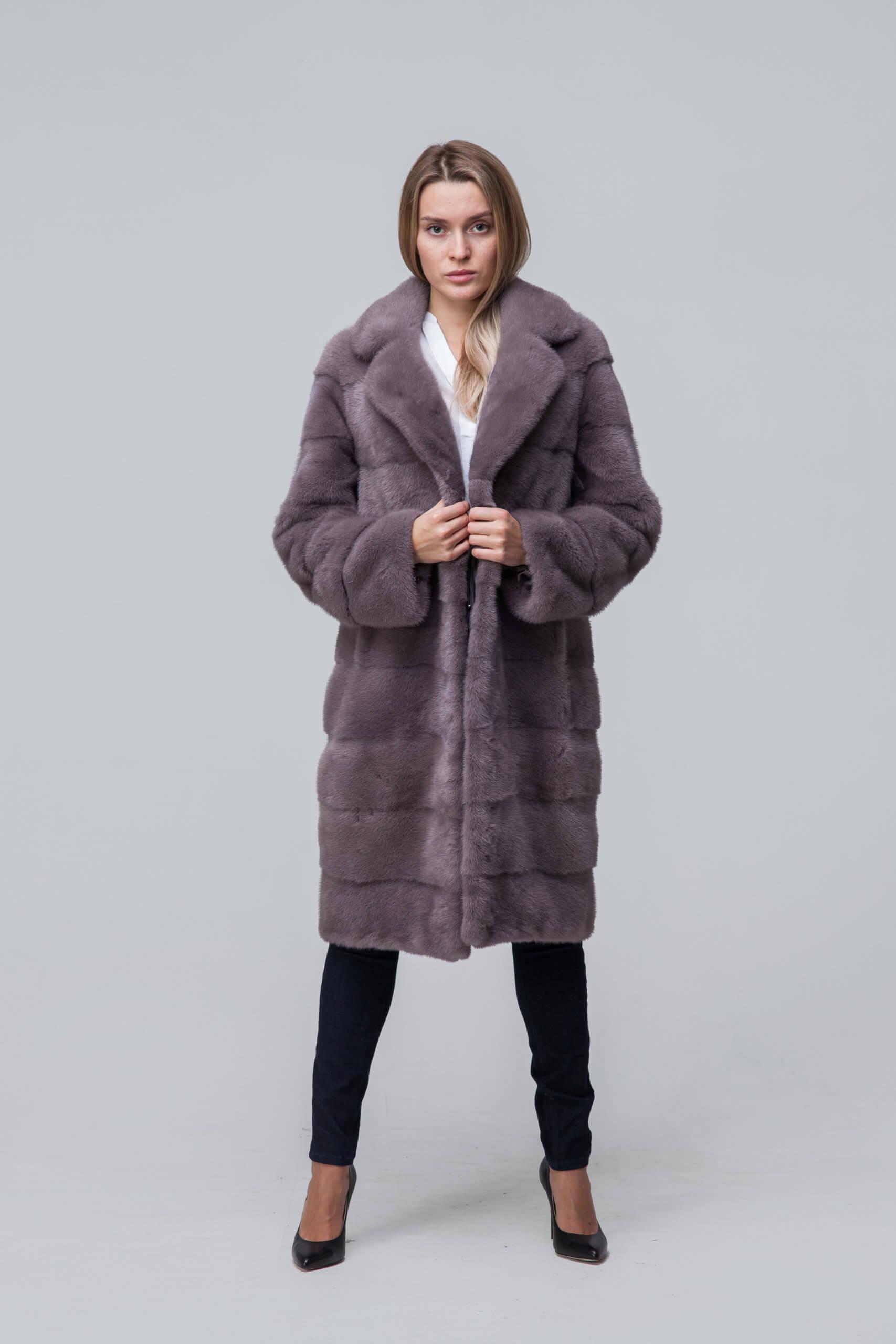 Пальто из европейской норки с английским воротником. Фото 1