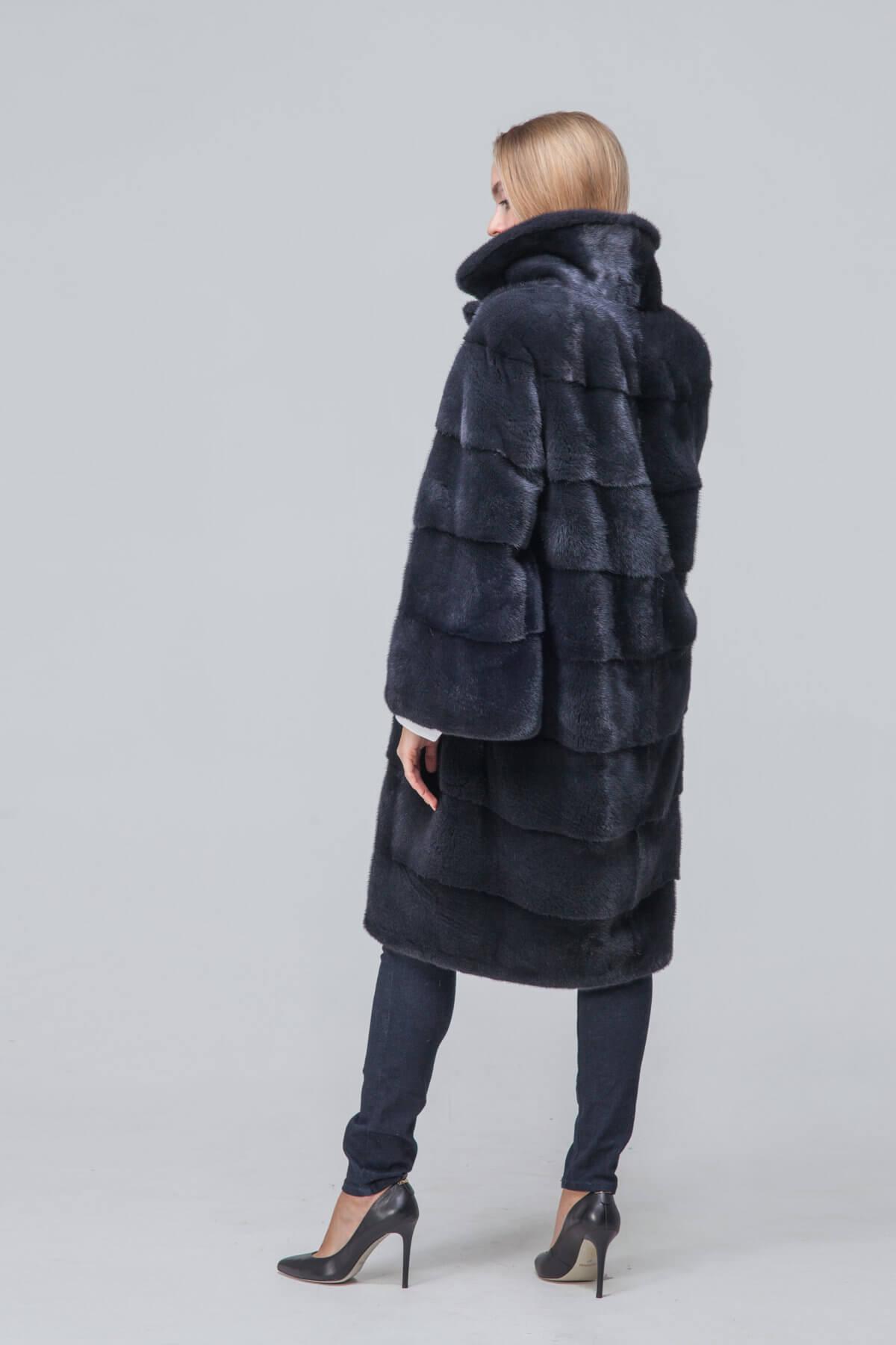 Пальто из европейской норки с английским воротником. Фото 4