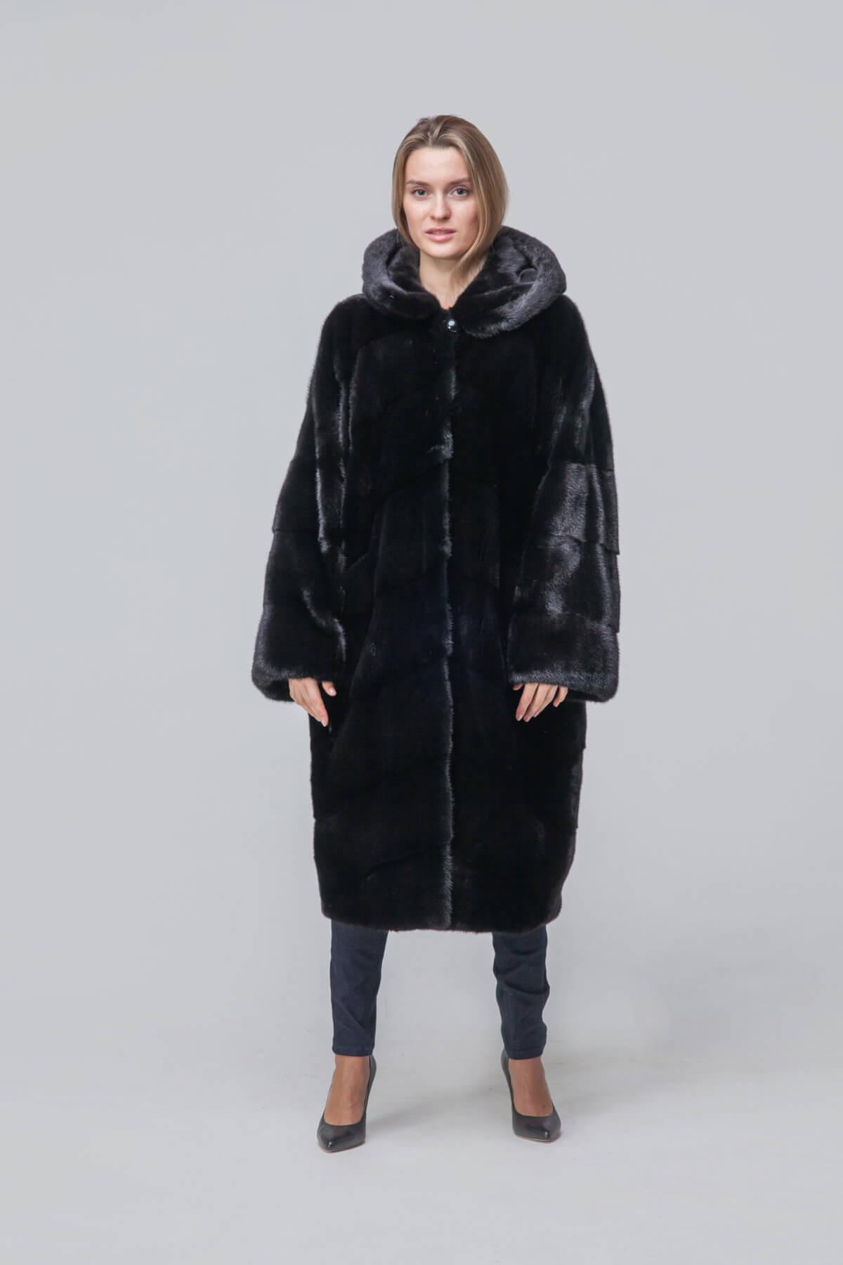 Пальто из европейской норки с капюшоном. Фото 1