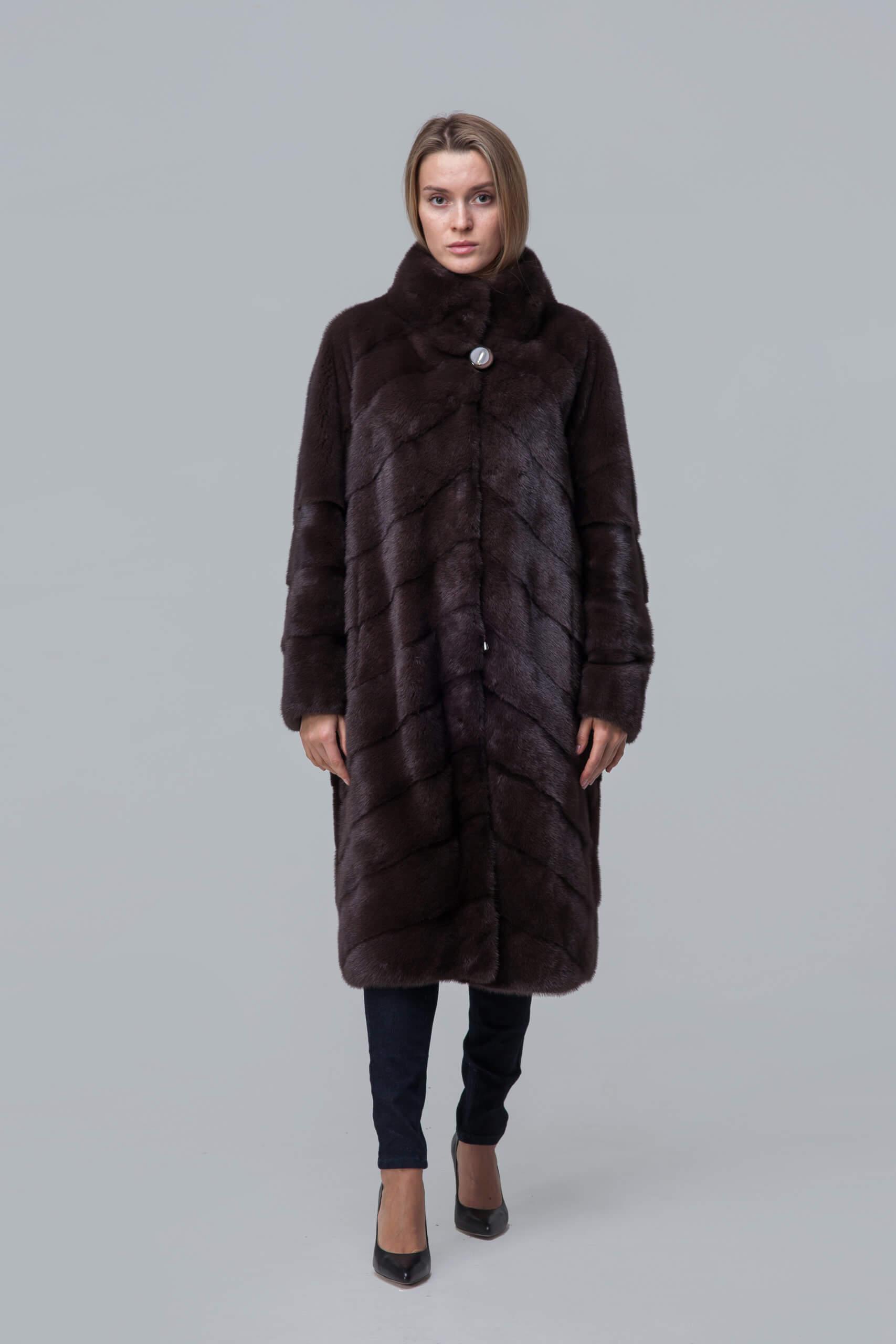 Пальто из норки со стойкой. Фото 1