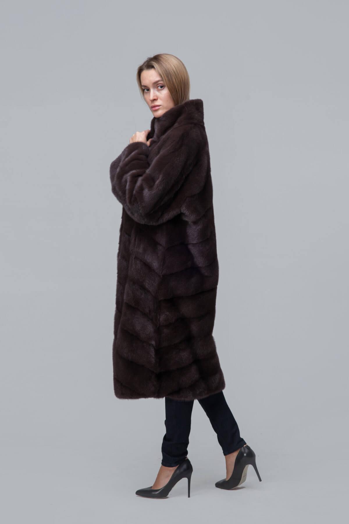 Пальто из норки со стойкой. Фото 3