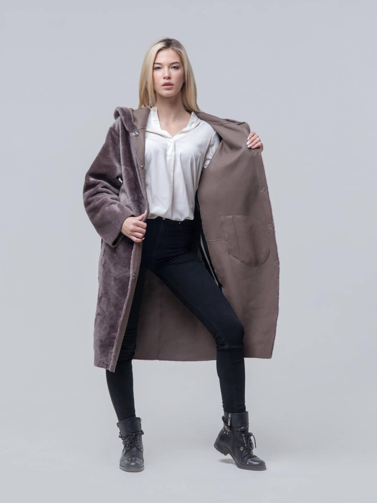 Удлиненное пальто из овчины