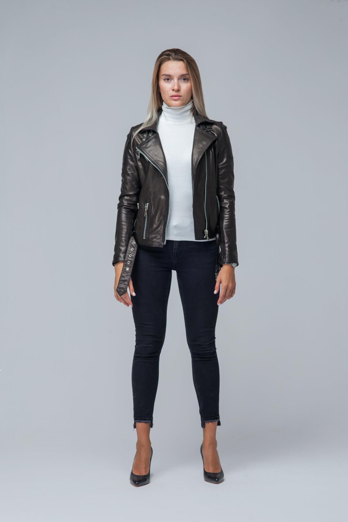 Кожаная куртка-косуха черная. Фото 6