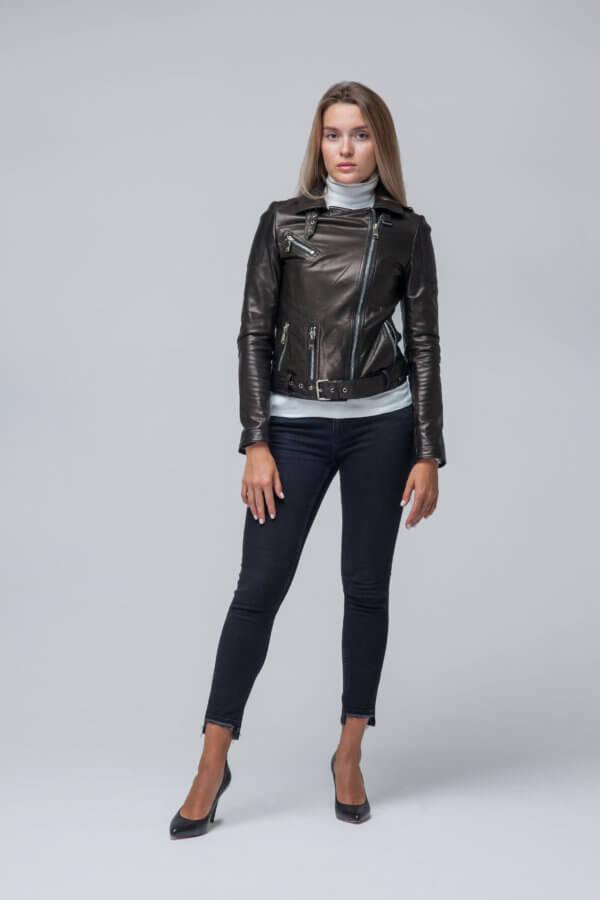 Кожаная куртка-косуха черная. Фото 1