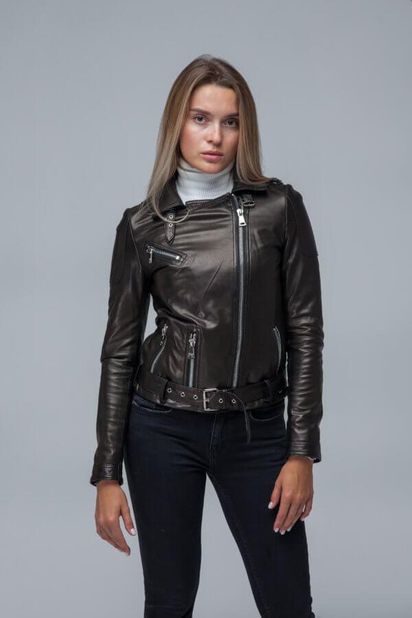 Кожаная куртка-косуха черная. Фото 2
