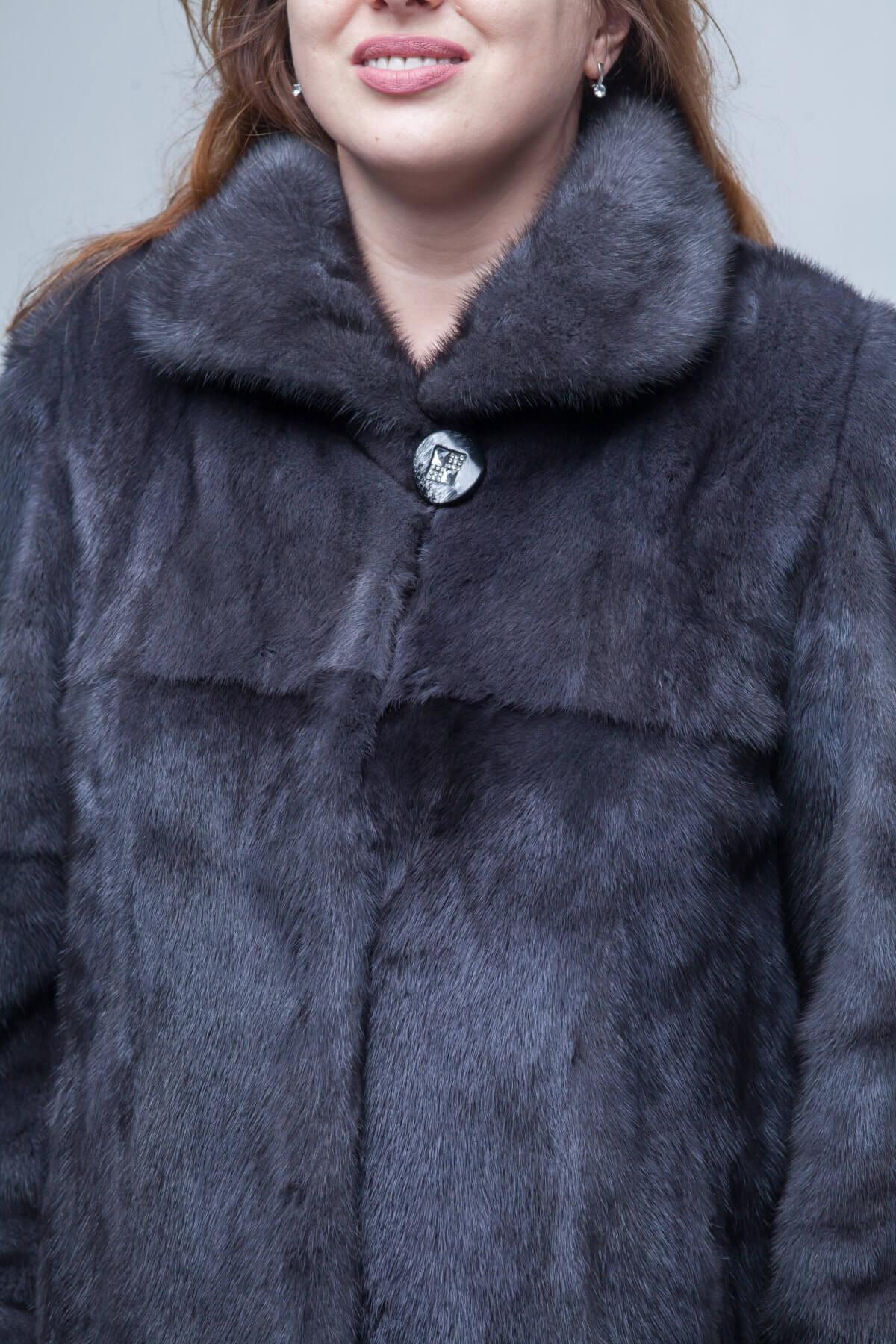 Норковая шуба с воротником «Апаш» фасона трапеция