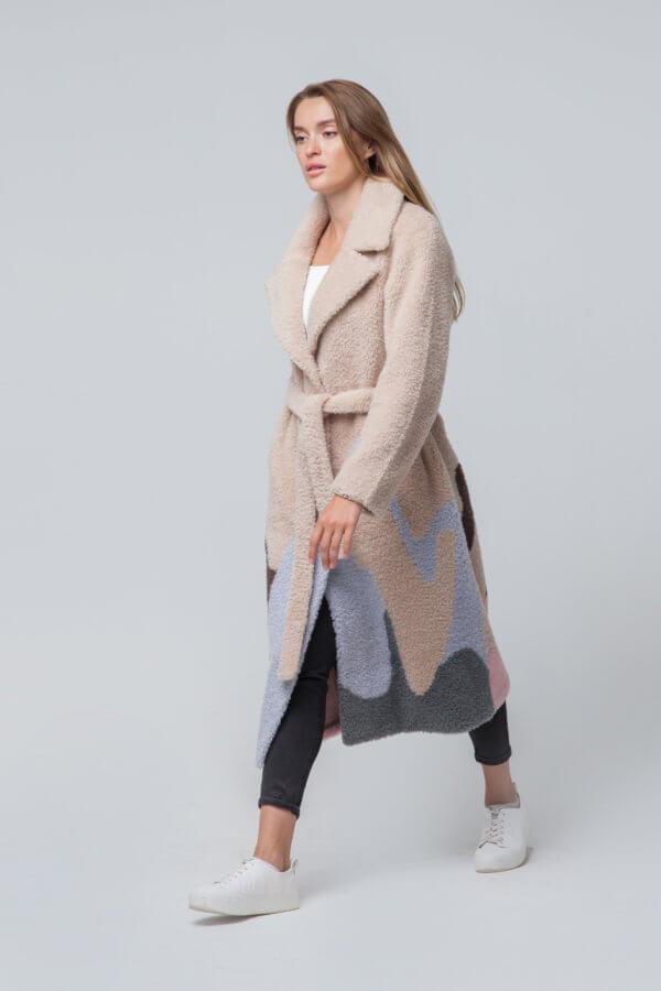 Пальто из шерсти и овчины