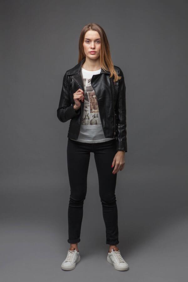 Черный куртка-косуха из экокожи. Фото 1