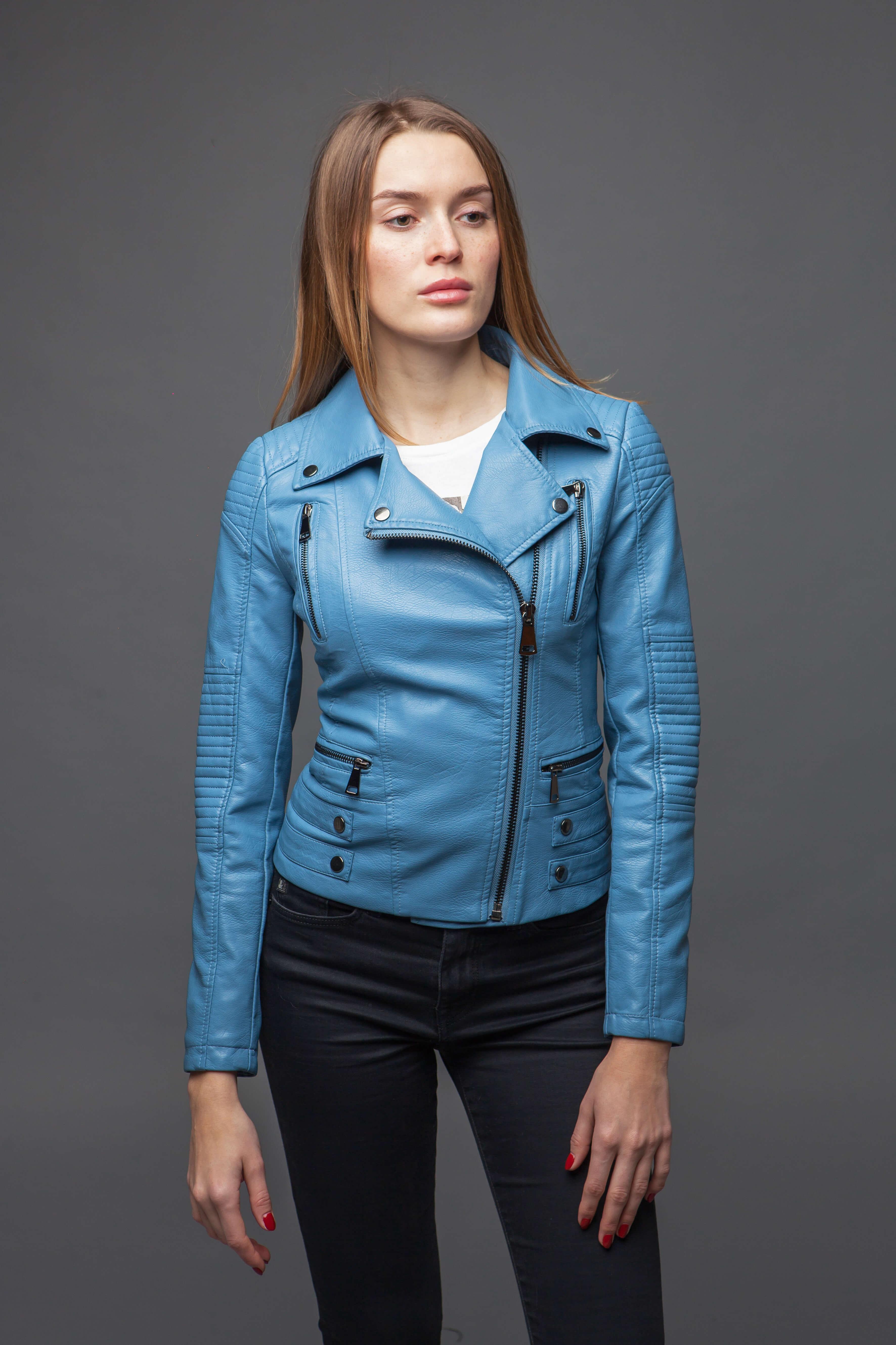 Синяя куртка-косуха с отложенным воротником. Фото 2