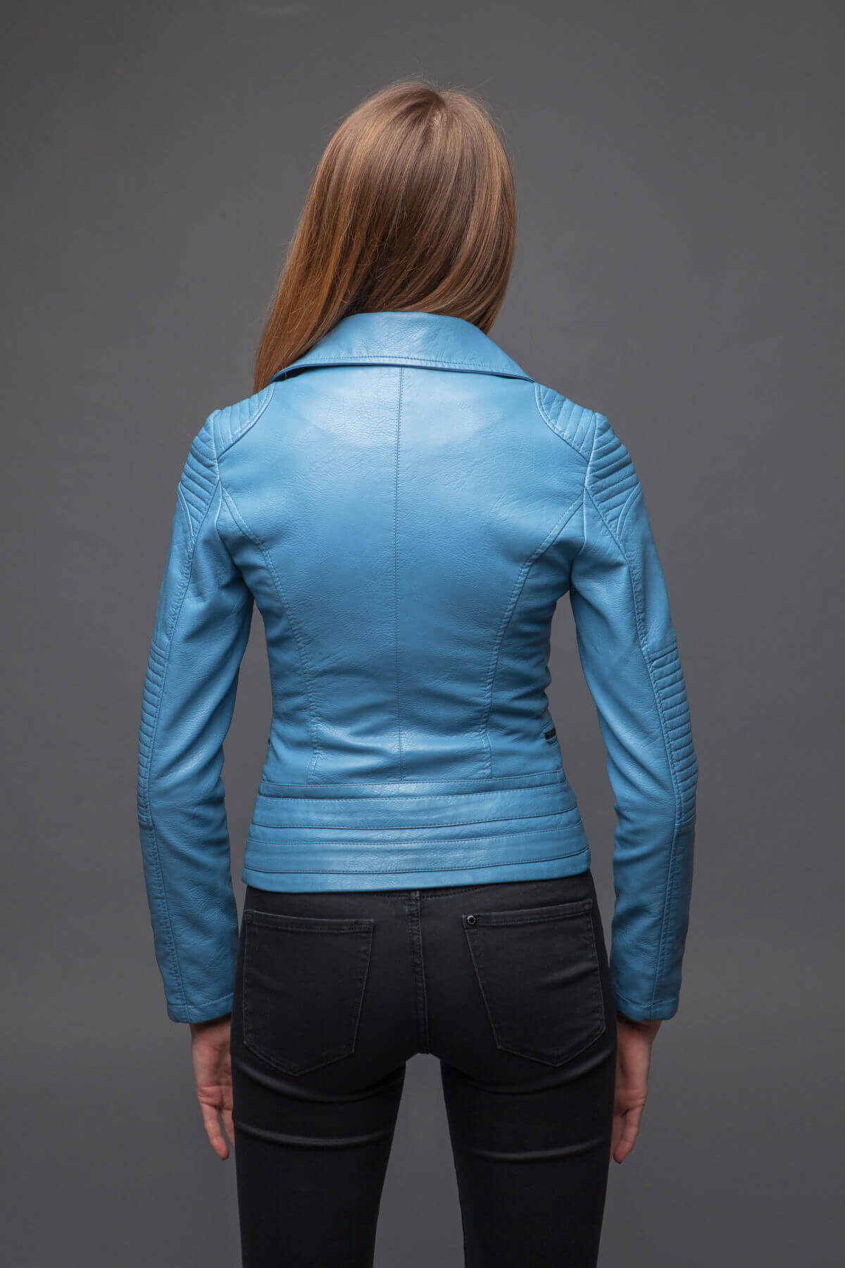 Синяя куртка-косуха с отложенным воротником. Фото 4