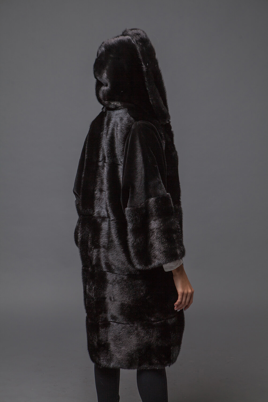Норковая шуба поперечка со стриженным мехом. Фото 3