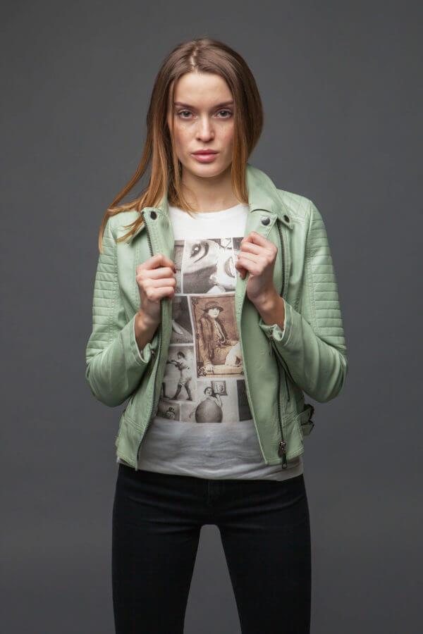 Стильная куртка-косуха мятного цвета. Фото 2