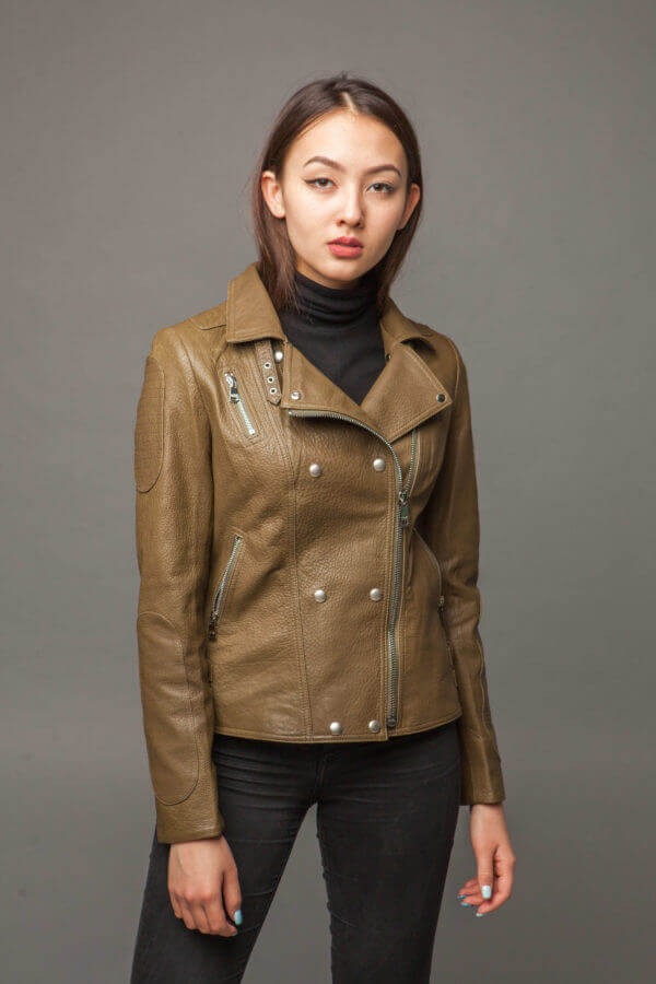 Кожаная куртка-косуха оливковая. Фото 2