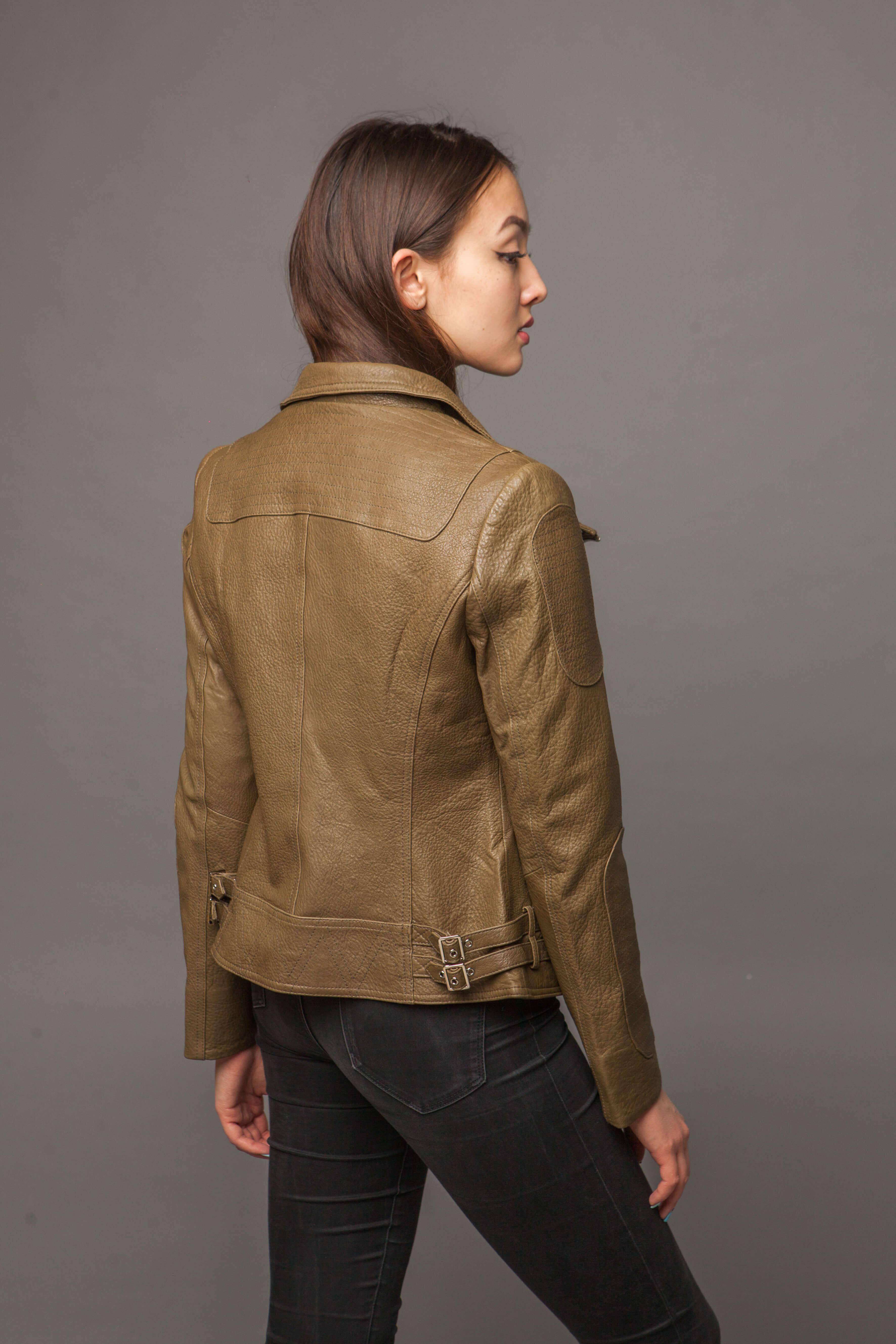Кожаная куртка-косуха оливковая. Фото 5